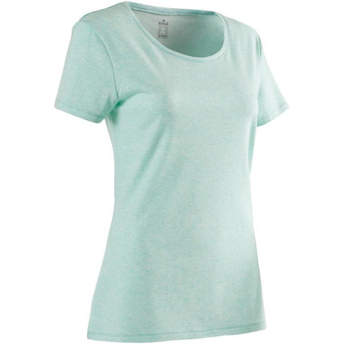 T-shirt 500 regular fit pilates en lichte gym dames gemêleerd lichtgroen