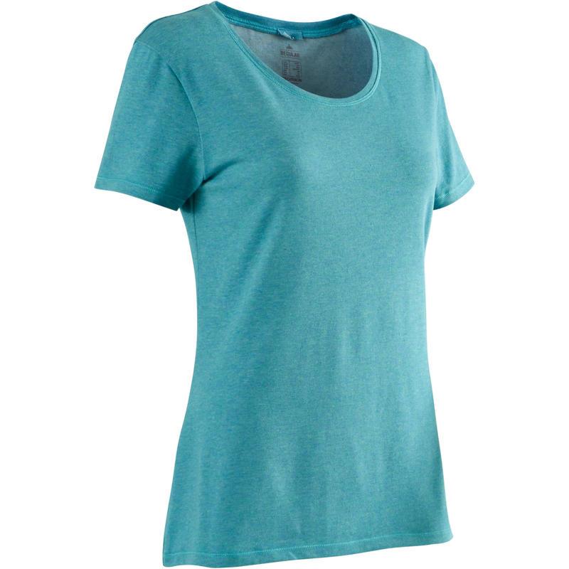 T-Shirt Pilates & Senam Ringan Regular-Fit Wanita 500 - Hijau Gelap Berbintik