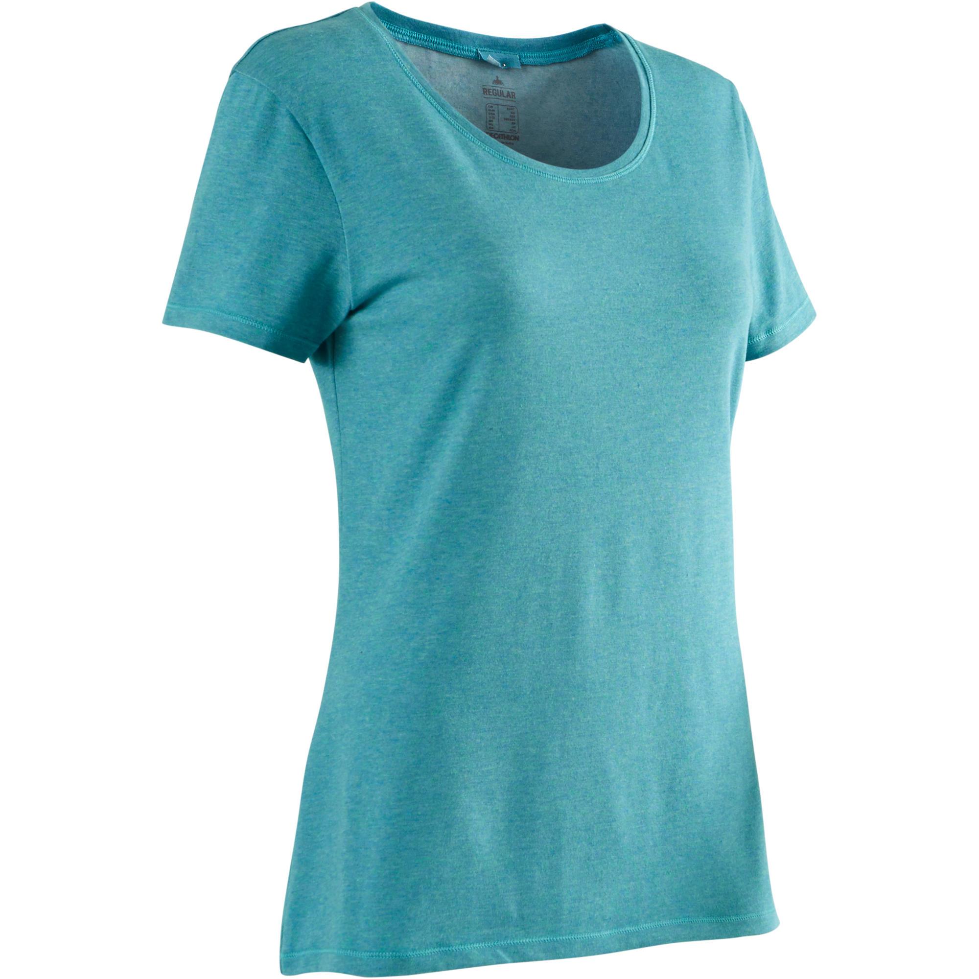 T-Shirt 500 Regular Gym & Pilates Damen grün meliert   Bekleidung > Shirts > T-Shirts   Blau - Türkis   Domyos
