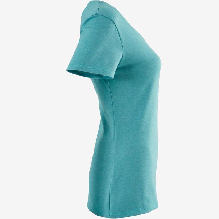 T-Shirt 500 regular Pilates Gym douce femme vert foncé chiné