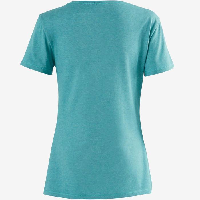 T-shirt 500 regular fit pilates en lichte gym dames gemêleerd donkergroen