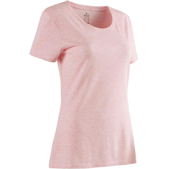 T-Shirt 500 regular Pilates Gym douce femme rose clair chiné