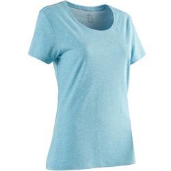 Camiseta Manga Corta Gym Pilates Domyos 500 Regular Mujer Azul Jaspeado