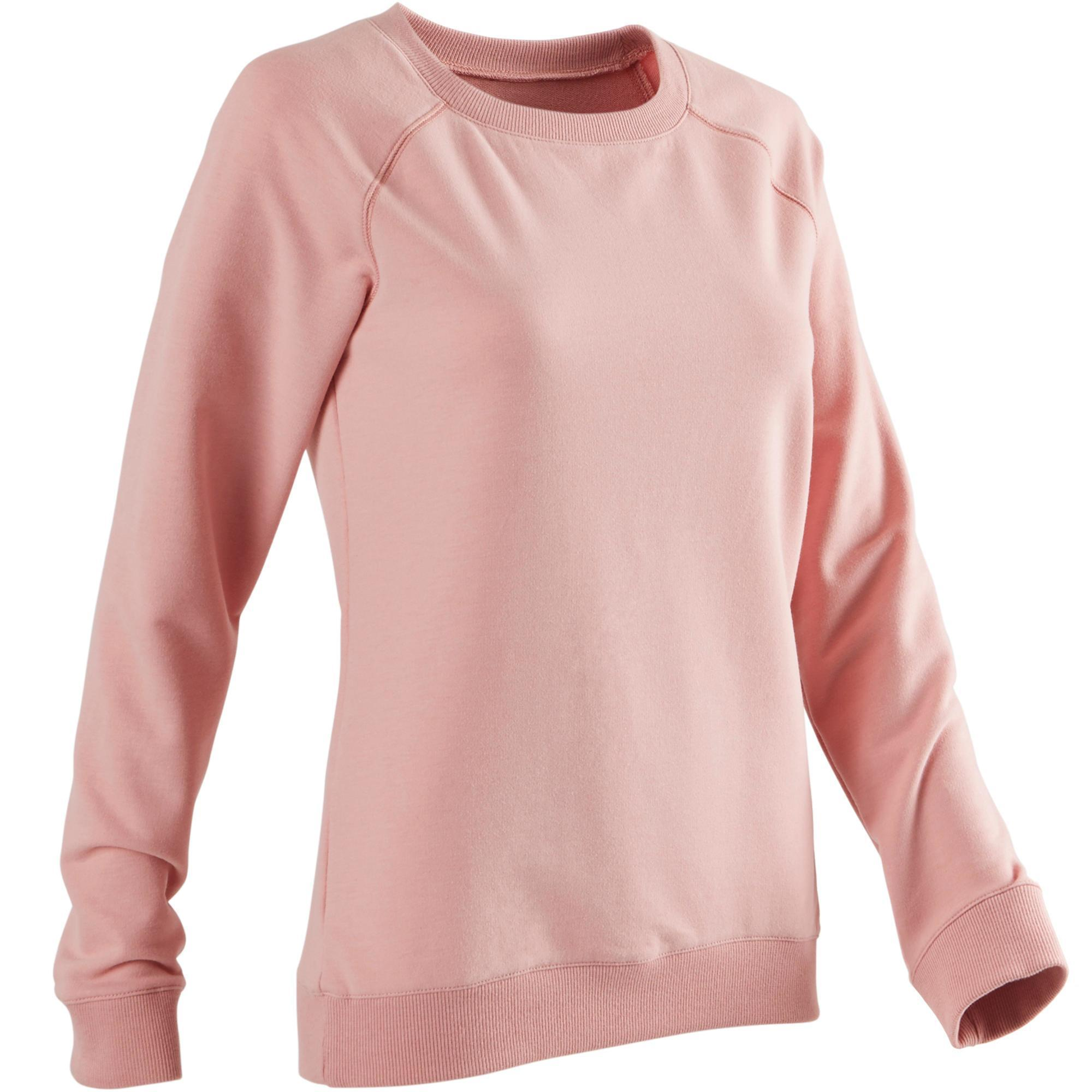 Domyos Damessweater voor pilates of lichte gym 500 roze