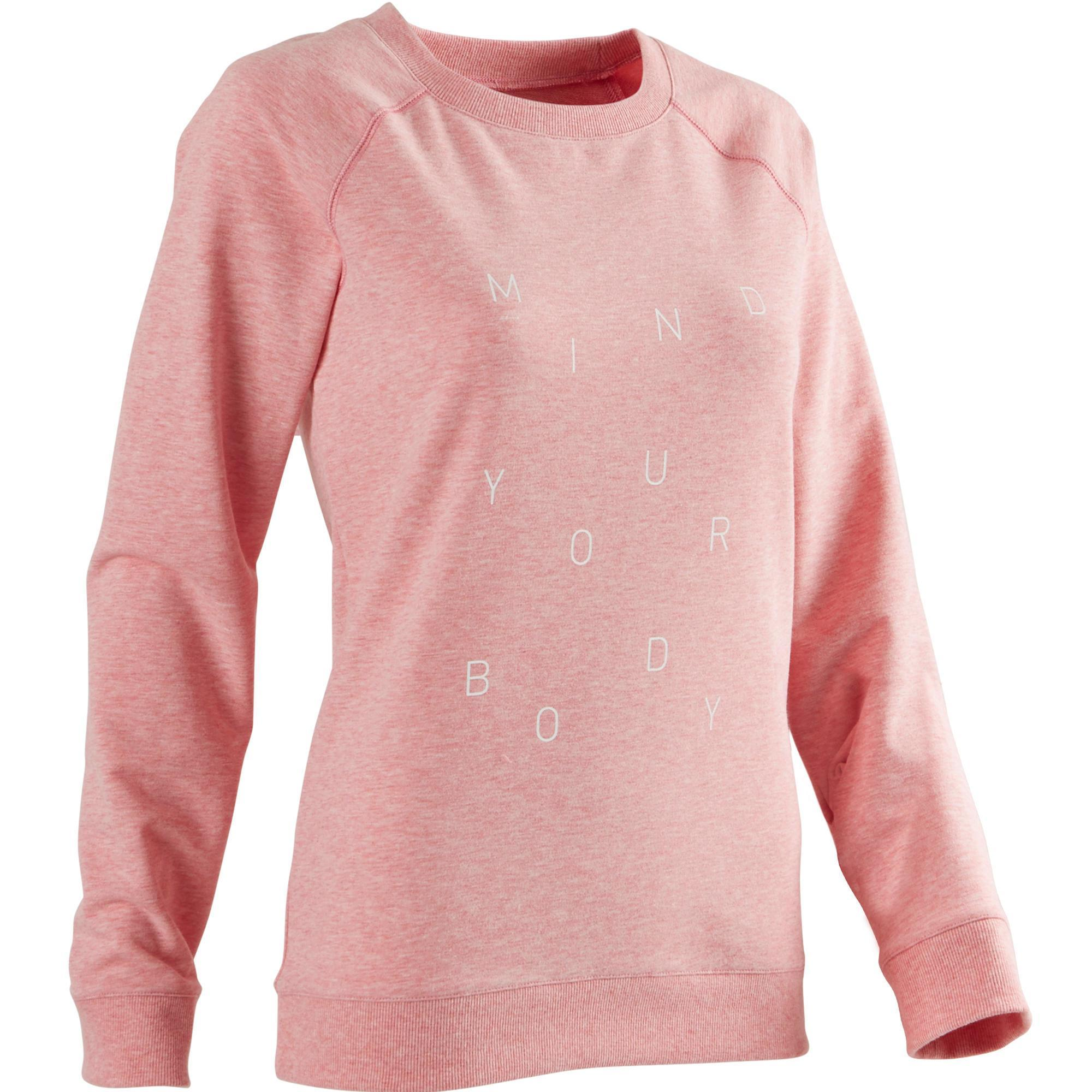 Domyos Damessweater 500 voor pilates of lichte gym roze met opdruk