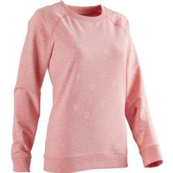 500 Women's Gentle Gym & Pilates Sweatshirt - Pink Print