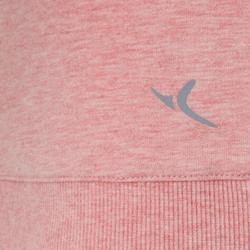 Damessweater 500 voor pilates of lichte gym roze met opdruk