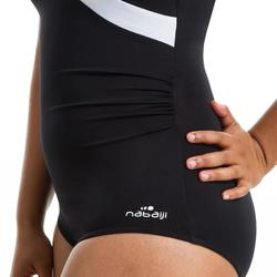 Figuurvormend damesbadpak voor aquagym Karli zwart/wit
