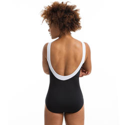 Maillot bain une pièce femme gainant de gymnastique aquatique Karli Noir/blanc