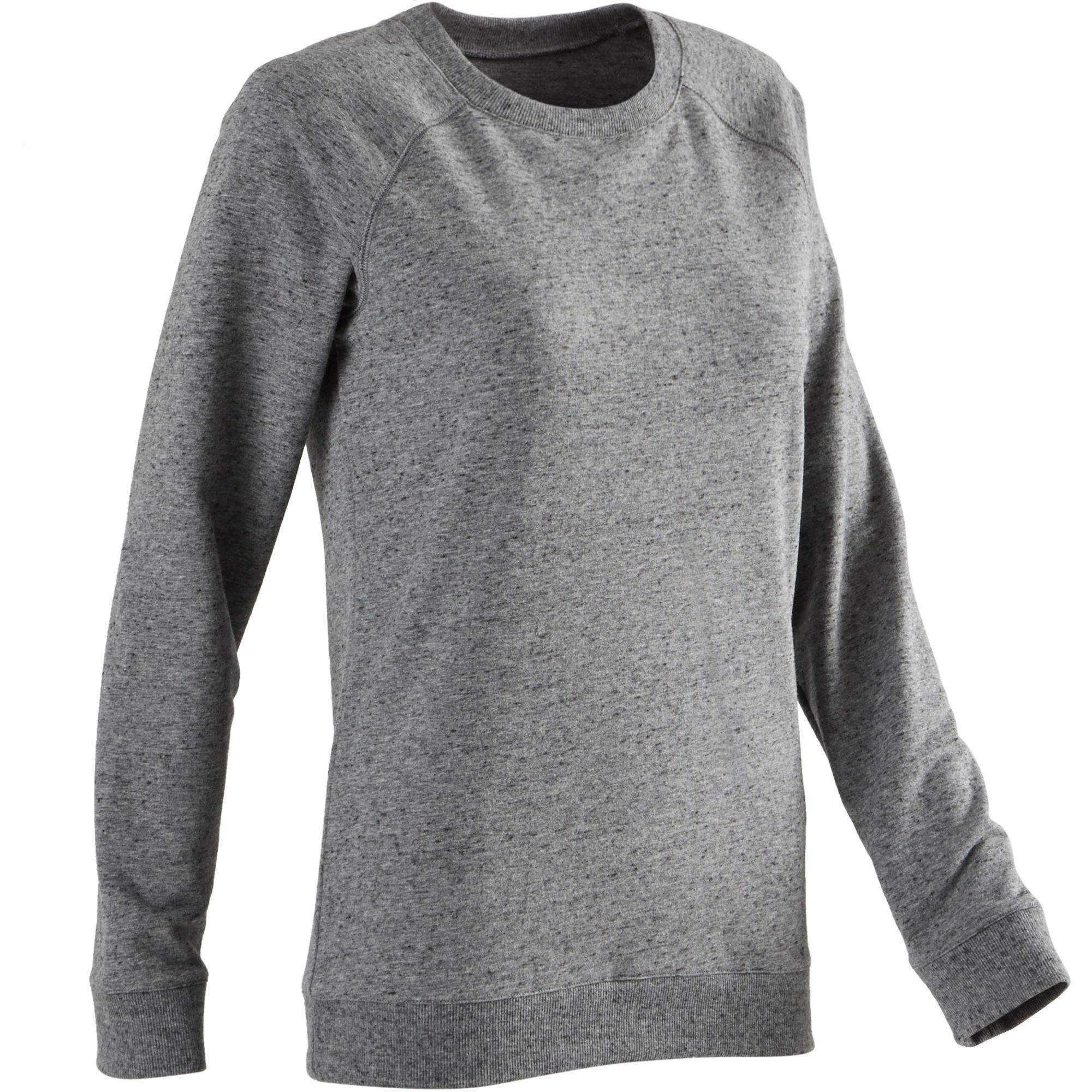 Domyos Sweater 500 pilates en lichte gym dames gemêleerd donkergrijs