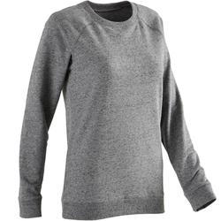 Sweater voor work-out dames 100 gemêleerd grijs