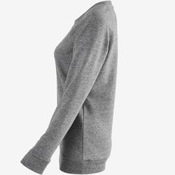 Sweater voor work-out dames 100 gemêleerd grijs