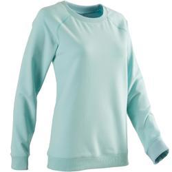 Damessweater 500 voor pilates en lichte gym blauw met opdruk