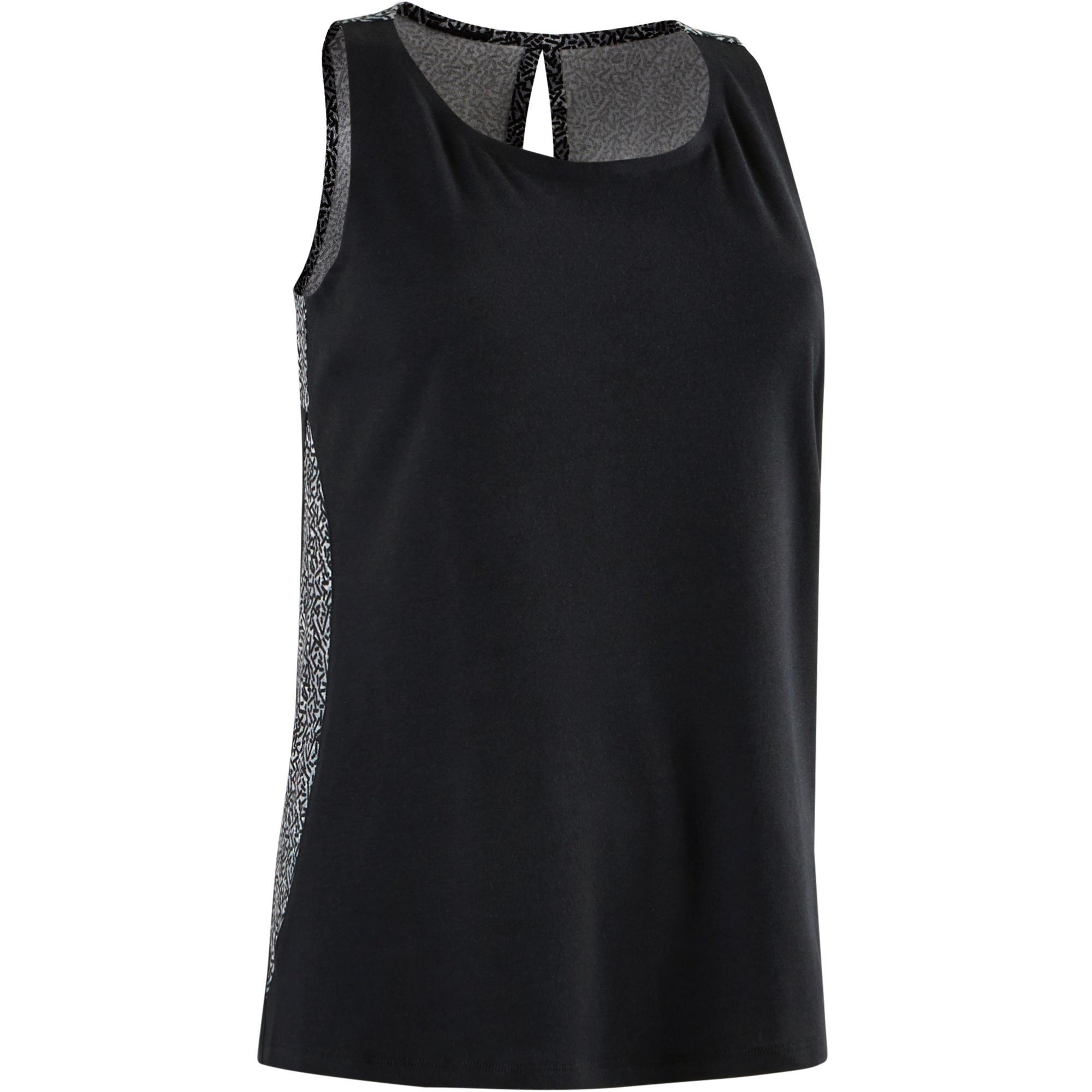 Camiseta sin mangas 520 Pilates y Gimnasia suave mujer negro