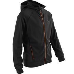 男童保暖透氣健身連帽外套S900 - 雜黑色/橘色細節