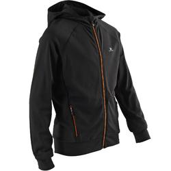 S900 Boys' Warm Breathable Hooded Gym Jacket - Mottled Black/Orange