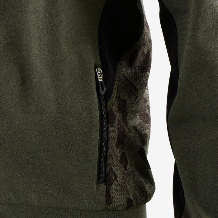 Kapuzenjacke warm atmungsaktiv S900 Gym Kinder kaki meliert