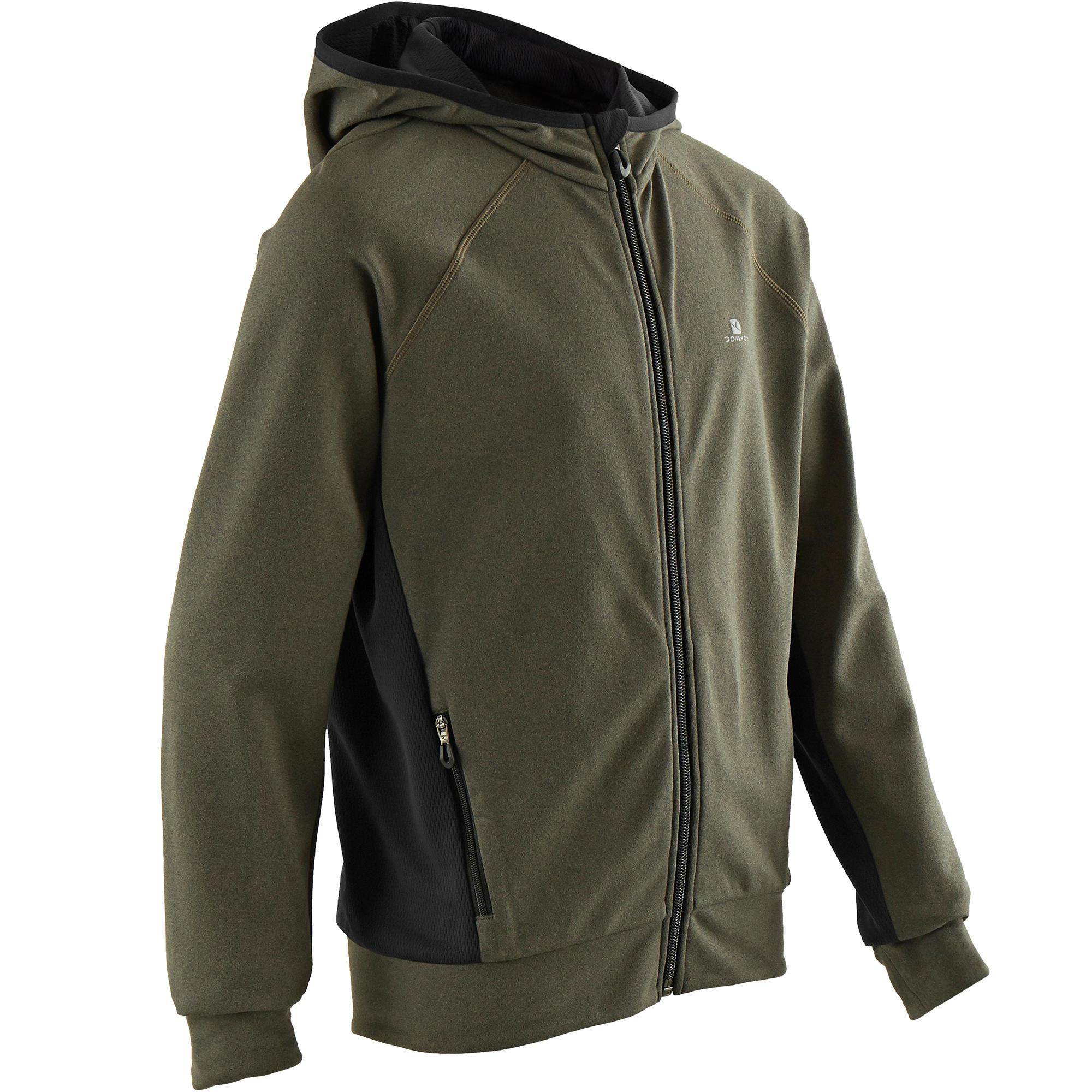 Chaqueta cálida capucha transpirable S900 niño GIMNASIA JÚNIOR caqui jaspeado