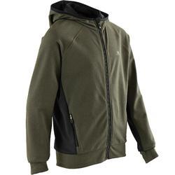 Warme hoodie S900 jongens gemêleerd kaki