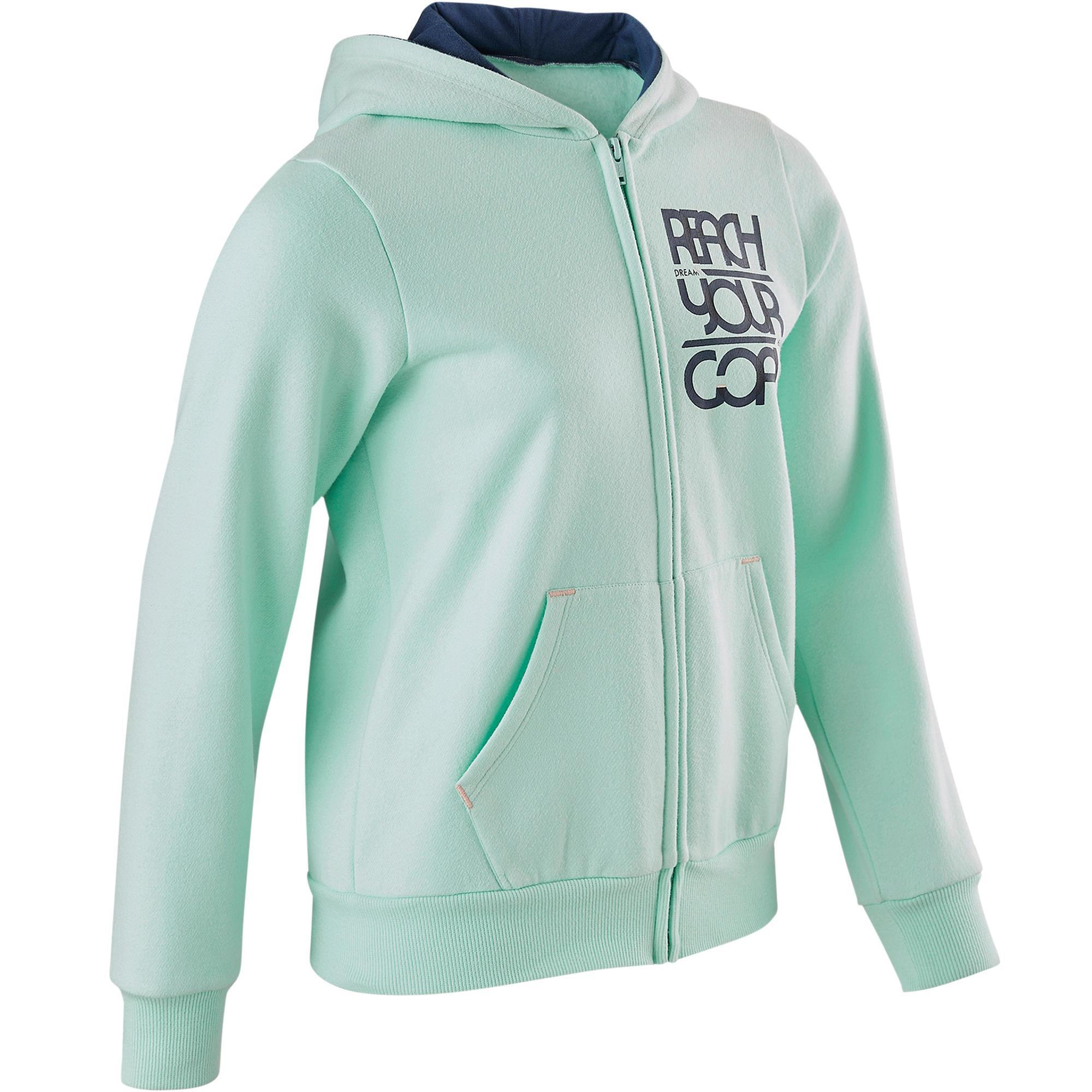 Domyos Warm vest met capuchon 100 meisjes GYM KINDEREN blauw met print