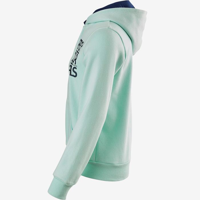 Warm vest met capuchon 100 meisjes GYM KINDEREN blauw met print