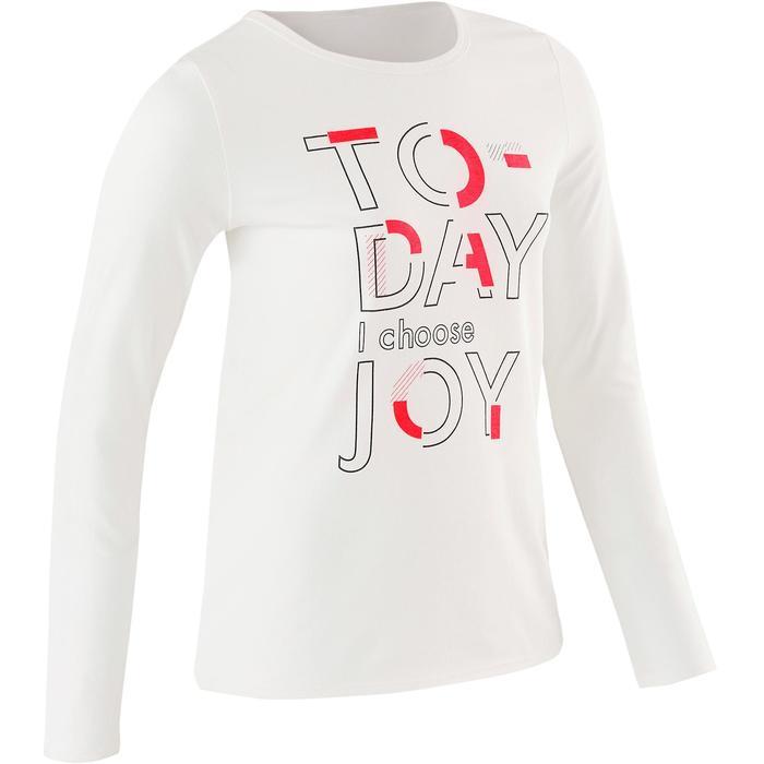 100 Girls' Long-Sleeved Gym T-Shirt - White Print