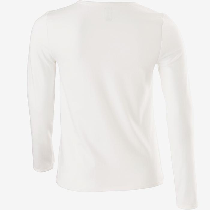 Girls' Long-Sleeved Gym T-Shirt 100 - White Print