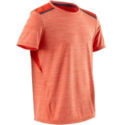 男童透氣合成材質短袖健身T恤S500 - 橘色