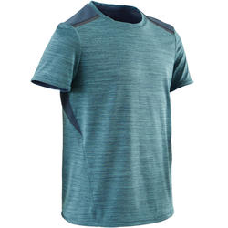 S500 Boys' Breathable Synthetic Half-Sleeved Gym T-Shirt - Light Blue
