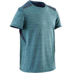 Camiseta Manga Corta Deportiva Gimnasia Domyos S500 Niño Azul Claro