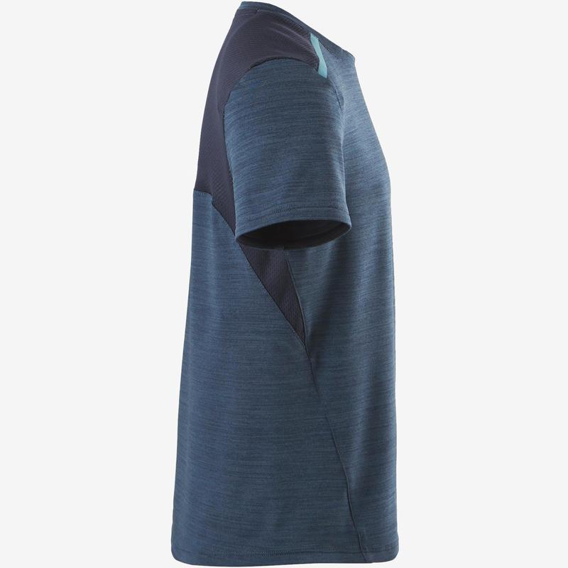Camiseta sintética transpirable manga corta S500 niño GIMNASIA INFANTIL azul osc