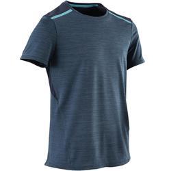 Camiseta Manga Corta Deportiva Gimnasia Domyos S500 Niño Azul