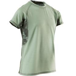 Camiseta Manga Corta Gimnasia Domyos S900 Niño Caqui Claro Transpirable