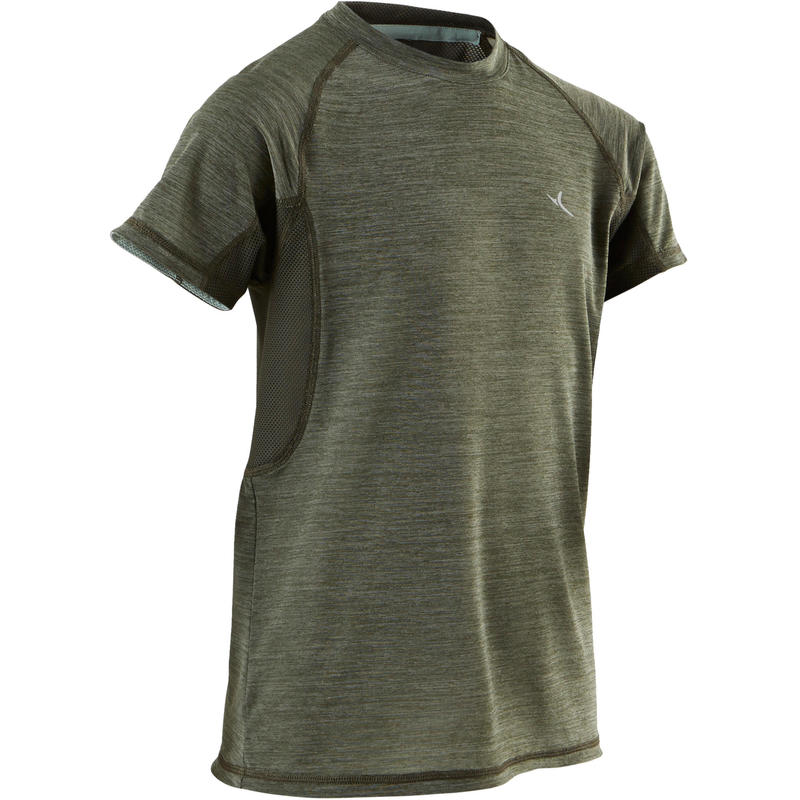 S900 Boys' Breathable Short-Sleeved Exercise T-Shirt - Khaki
