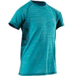 Camiseta Manga Corta Gimnasia Domyos S900 Niño Azul Transpirable