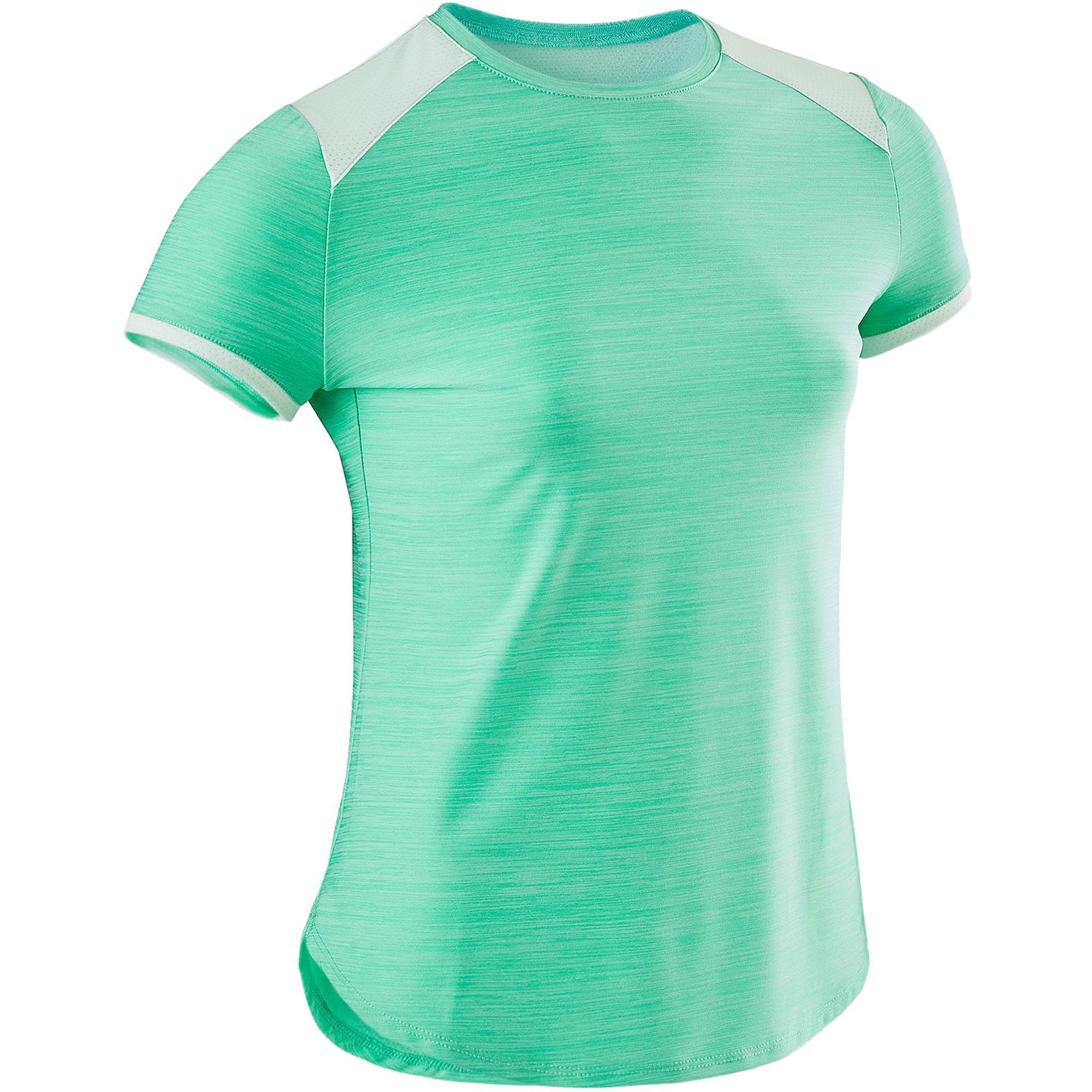 Domyos T-shirt korte mouwen synthetisch ademend S500 meisjes GYM KINDEREN groen