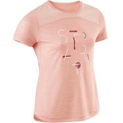 女童透氣棉質健身短袖T恤500 - 雜粉色印花