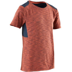 500 Boys' Gym Breathable Cotton Half-Sleeved T-Shirt - Blue/Orange