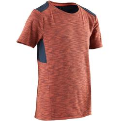T-Shirt Baumwolle atmungsaktiv 500 Gym Kinder blau/orange