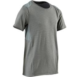 500 Boys' Gym Breathable Cotton Short-Sleeved T-Shirt - Grey