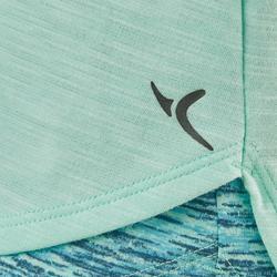 T-Shirt manches courtes coton respirant 500 fille GYM ENFANT vert AOP bleu