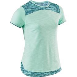 T-shirt korte mouwen ademend katoen 500 meisjes GYM KINDEREN groen AOP blauw