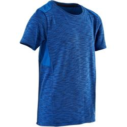 500 Boys' Gym Breathable Cotton Short-Sleeved T-Shirt - Blue