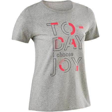 100 T-Shirt Gym Perempuan Lengan Pendek - Abu-abu berbintik Print