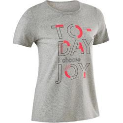 Recycled T-shirt voor gym meisjes 100 gemêleerd middengrijs/opdruk