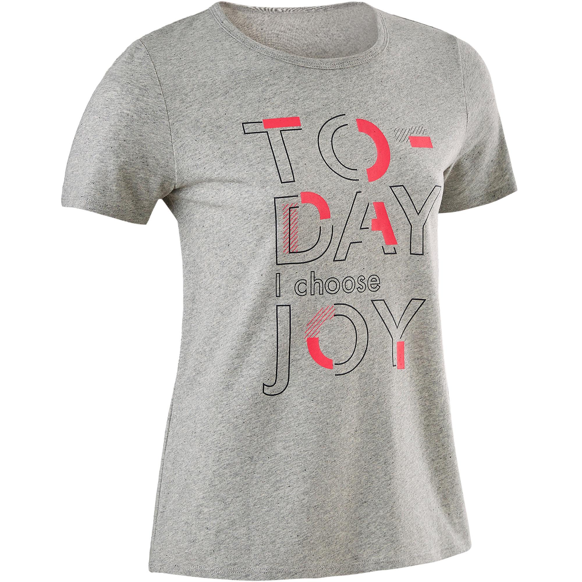 T shirt manches courtes recyclé 100 fille gym enfant gris chiné moyen imprimé domyos