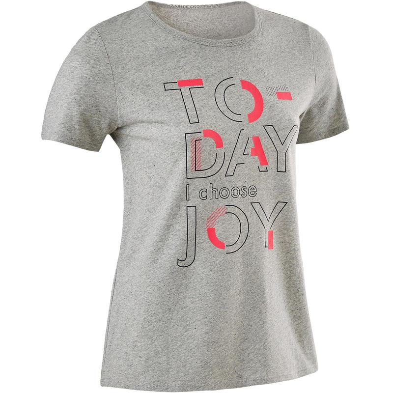 T-Shirt manches courtes  recyclé 100 fille GYM ENFANT gris chiné moyen imprimé