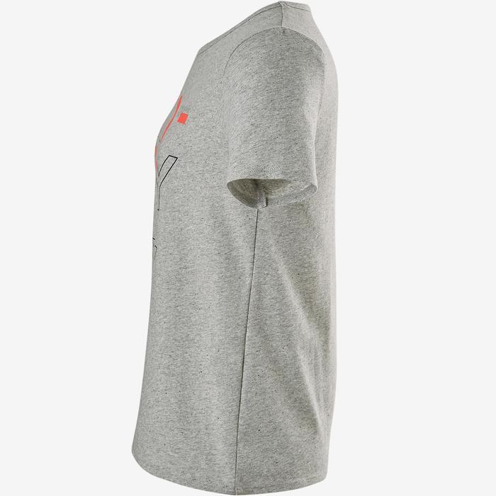 Camiseta manga corta reciclada 100 niña GIMNASIA JÚNIOR gris jaspeado estampado