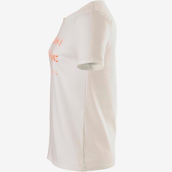 T-shirt korte mouwen 100 meisjes GYM KINDEREN wit met print