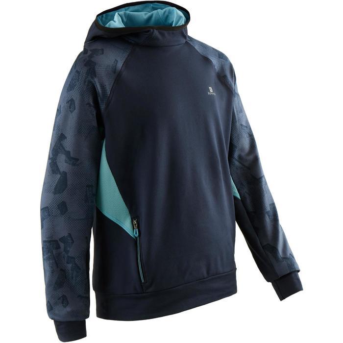 Hoodie warm synthetisch ademend S500 jongens GYM KINDEREN blauw